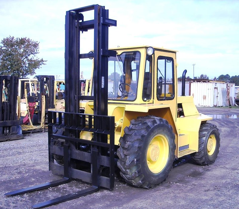 Yellow outdoor forklift at a job site
