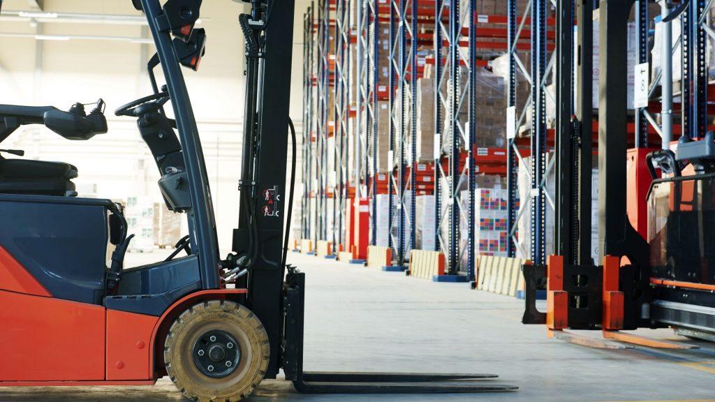 Small hydrogen forklift inside a warehouse