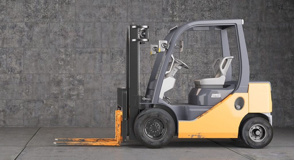 Warehouse safety protocol for counterbalanced forklift