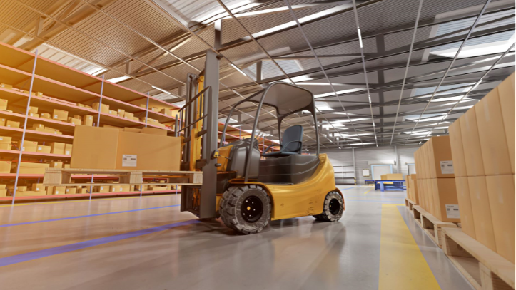 Counterbalance forklift following proper warehouse safety protocol