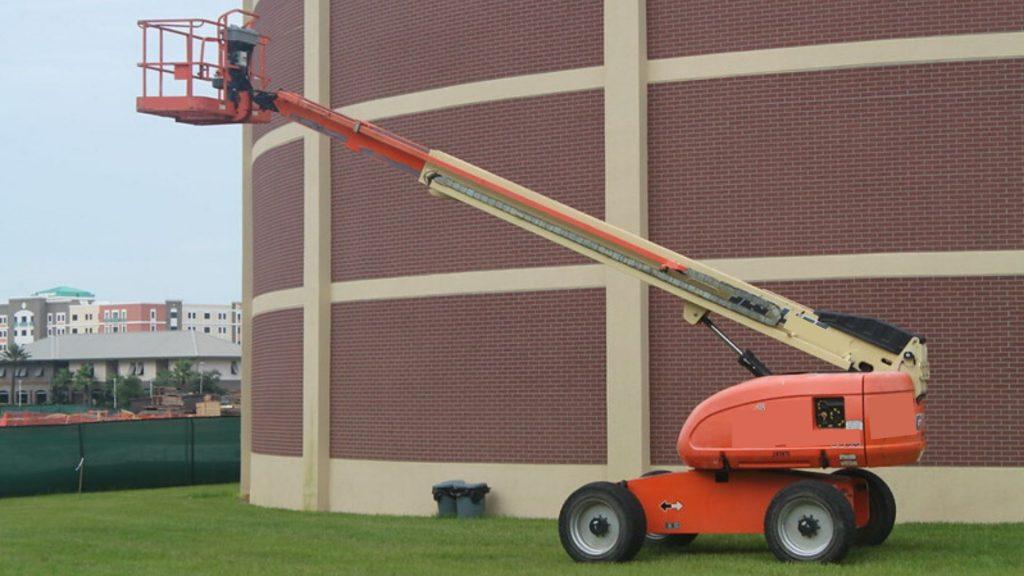 Cherry picker boom lift outside