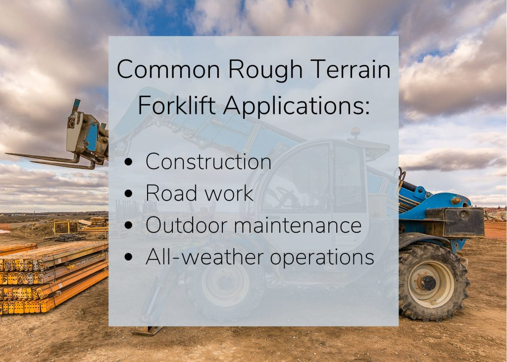 Small rough terrain forklift used for construction, road work, outdoor maintenance, and all-weather operations