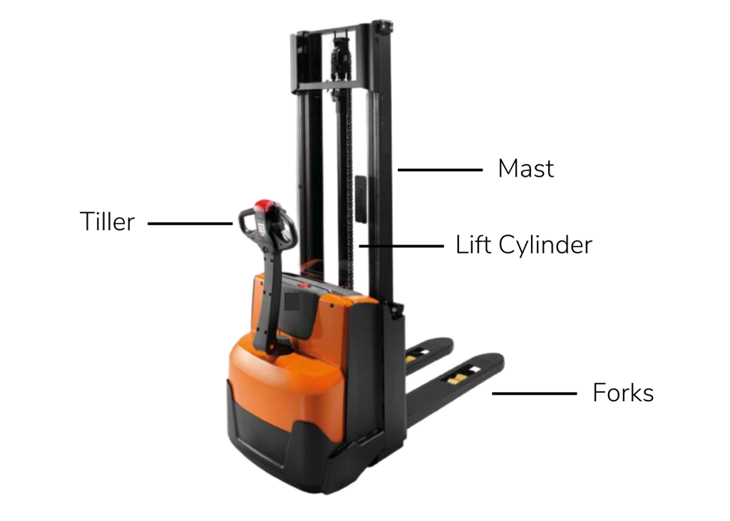 A walkie stacker forklift with labeled parts