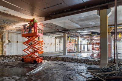 Indoor scissor lift used for building repairs