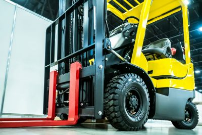 Pneumatic tire forklifts for sale inside a facility