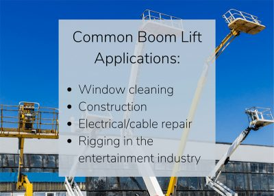 Articulating boom lifts and straight mast boom lifts used for window cleaning, construction, electrical repair, and rigging