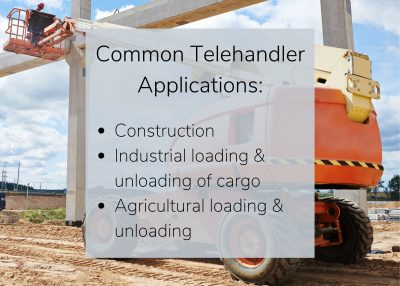 Large telehandler forklift being used outside for construction and industrial loading. telehandlers for sale