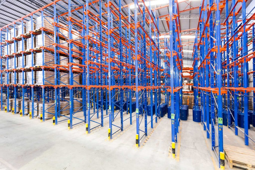 Racking system used to stack pallets from the ground up with a forklift