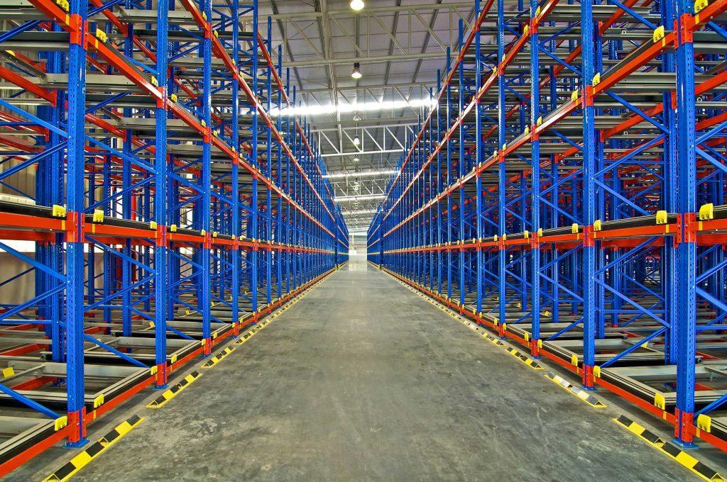 Large racking system designed for storing multiple pallets deep