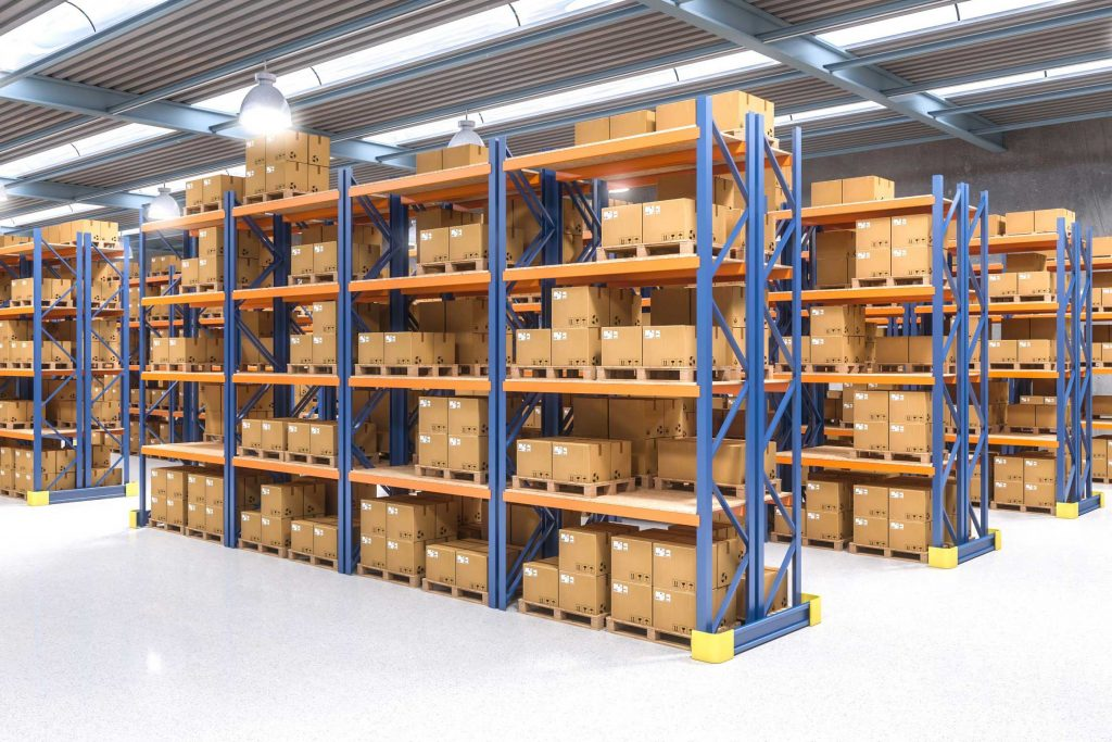 Warehouse racking system for storing palletized inventory