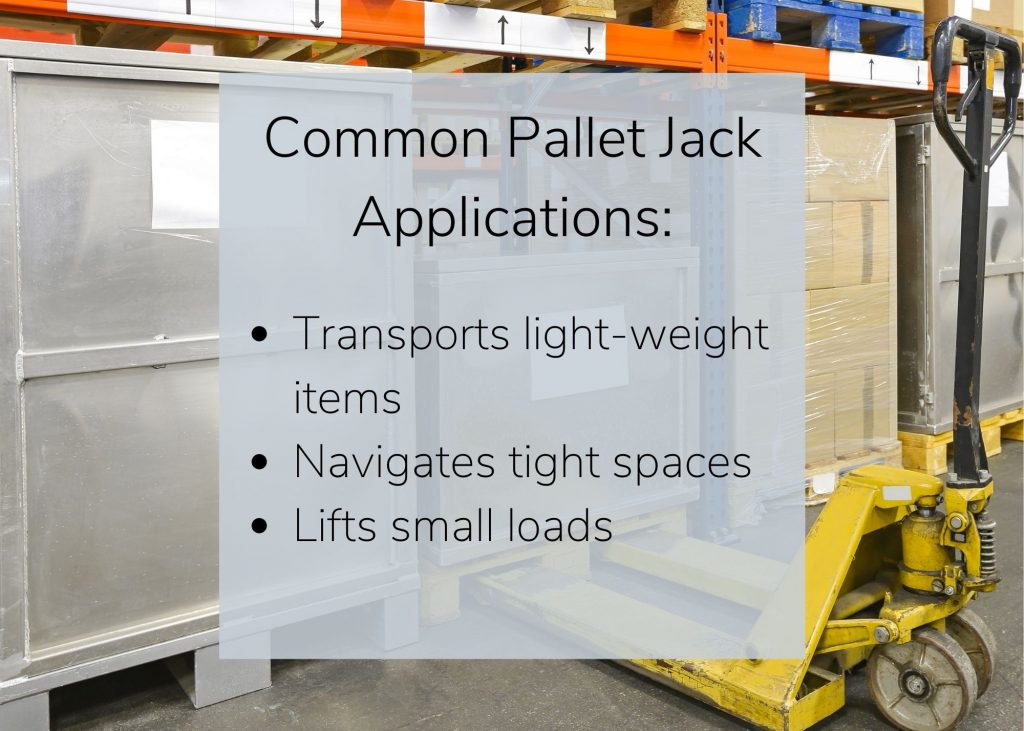 A manual pallet jack image with common pallet jack applications.