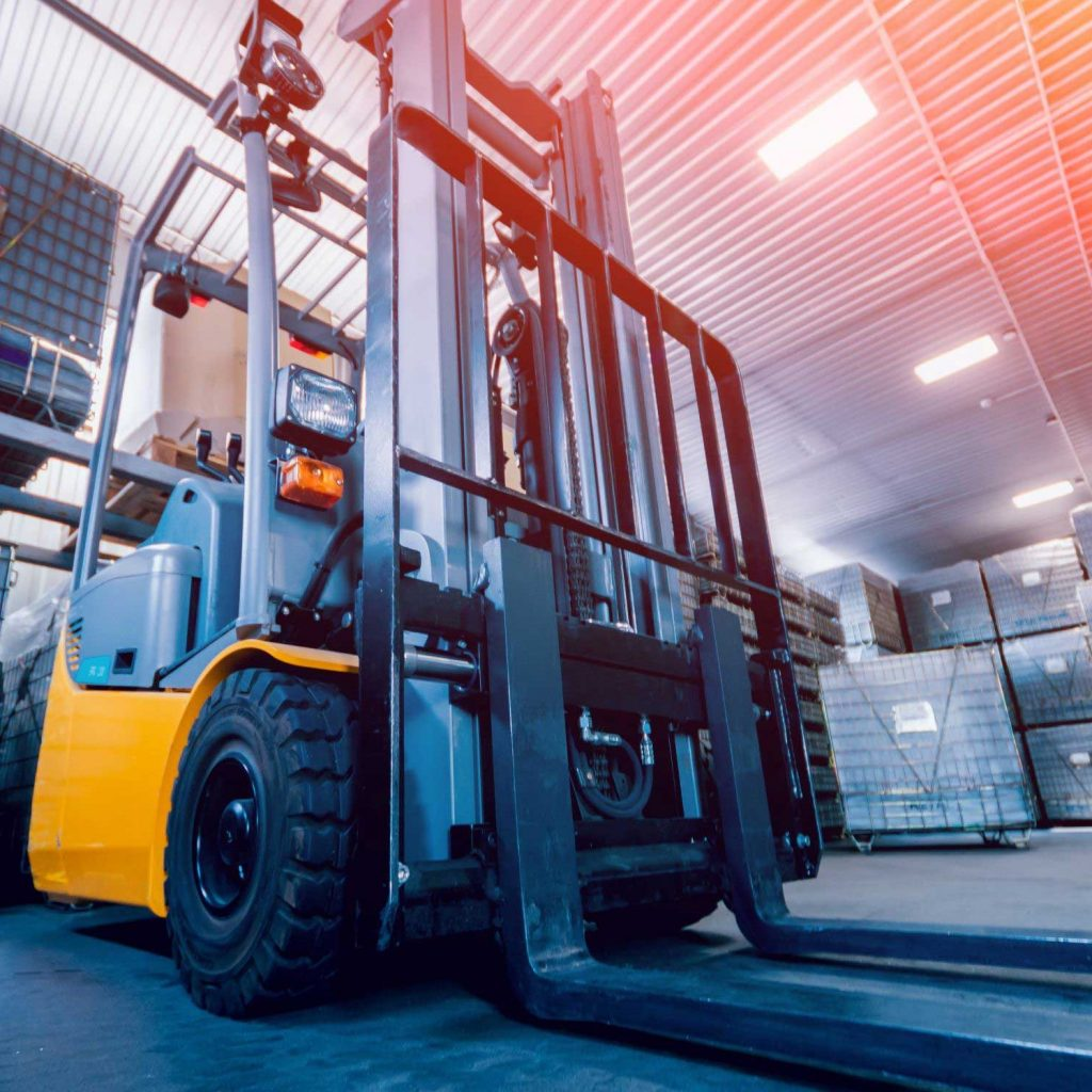 A Forklift Inventory forklift mast in operation.
