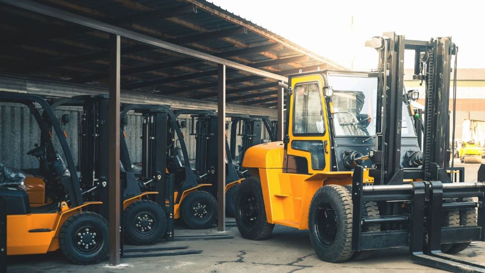 A Forklift Inventory truck with a different type of forklift fuel from the other trucks.