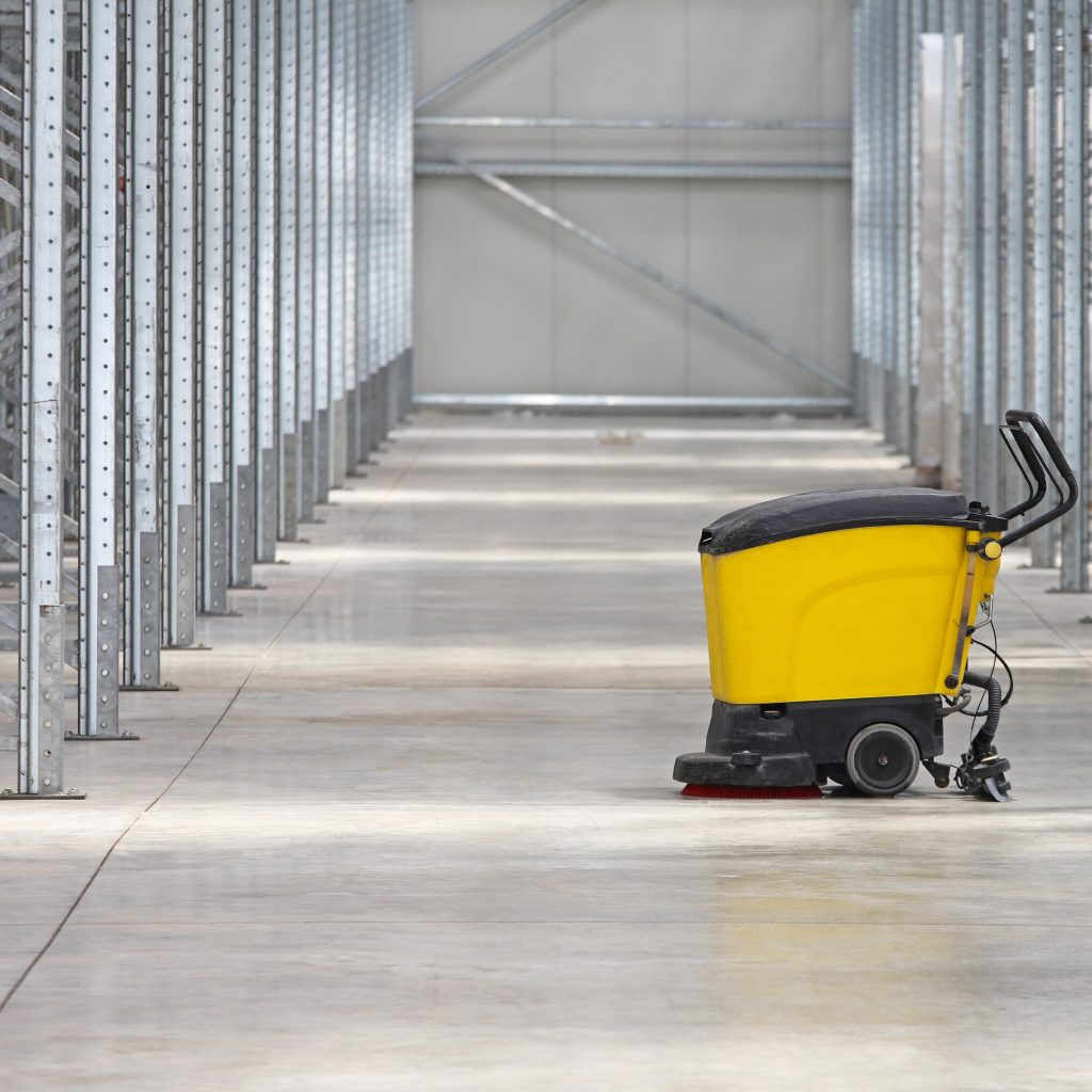 Industrial cleaning equipment in an empty facility