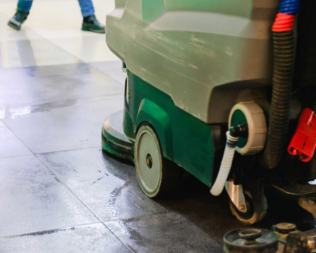 Closeup of a used sweeper-scrubber