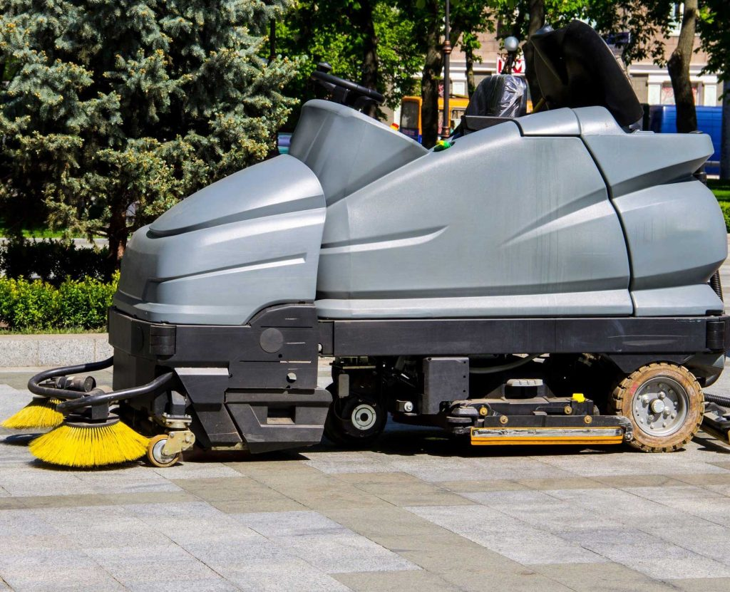 New and used parking lot sweepers for sale outside