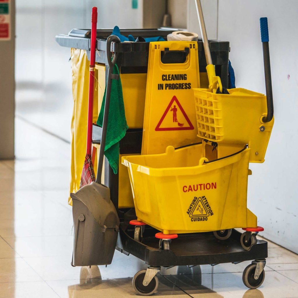 Collection of custodial cleaning supplies in a facility