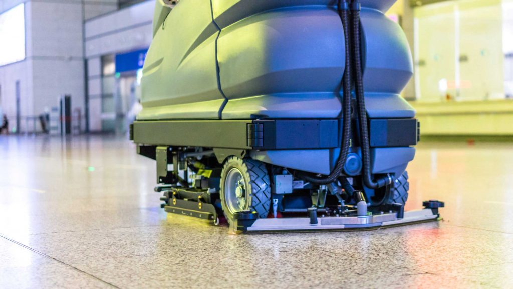 Industrial floor scrubber used for commercial floor care