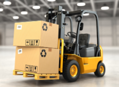 Counterbalance forklift inside a warehouse