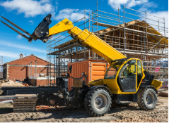 Forklift equipment being used outside at a construction site
